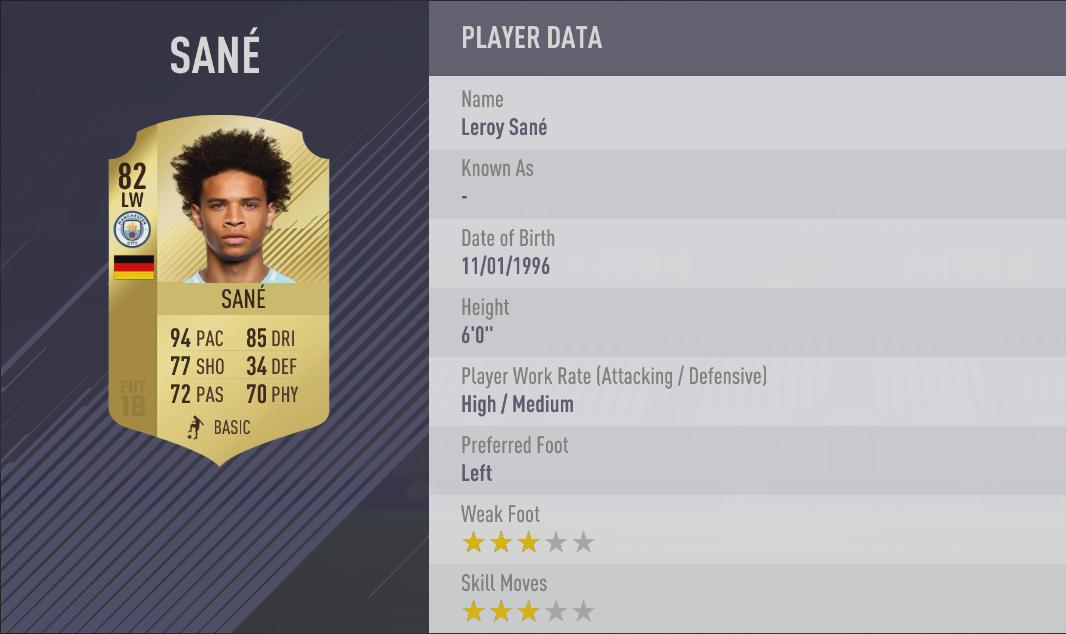 Sane FIFA 18