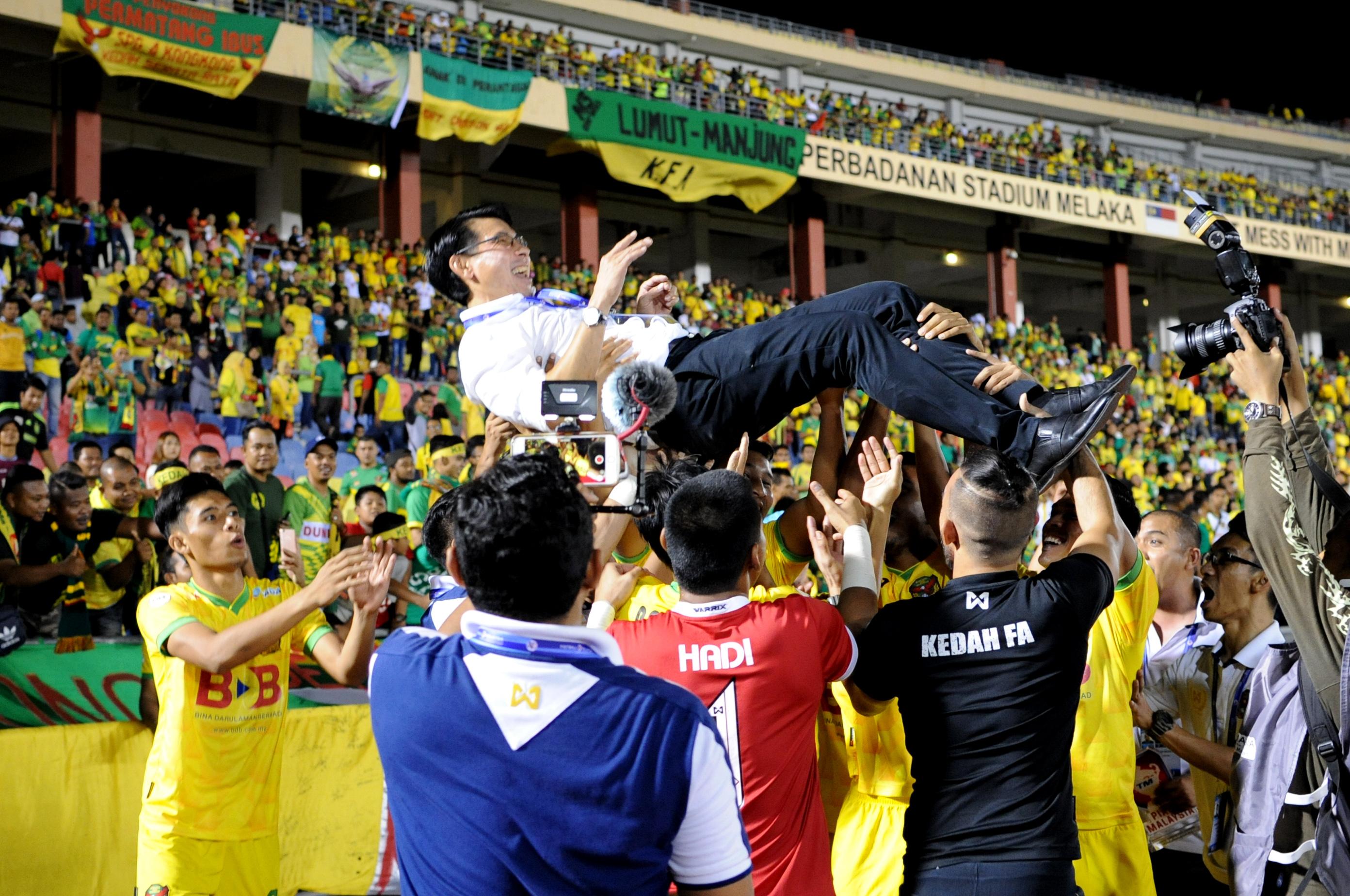 Kedah's Tan Cheng Hoe celebrating his team's win 2016