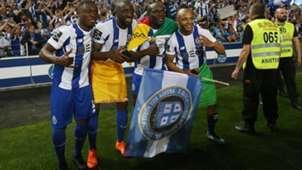Abdul Majeed Waris, Moussa Marega, Vincent Aboubakar and Yacine Brahimi celebrate winning the Primeira Liga tittle with FC Porto 6 May 2018