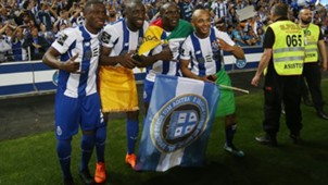 Abdul Majeed Waris, Moussa Marega, Vincent Aboubakar and Yacine Brahimi celebrate winning the Primeira Liga tittle with FC Porto 6 May 2018