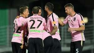 Palermo players celebrating Carpi Palermo Serie B