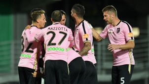 Palermo players celebrating Carpi Palermo Serie B