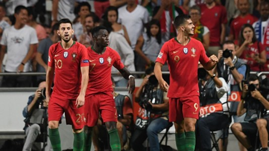 Portugal celebrate Andre Silva goal vs Italy