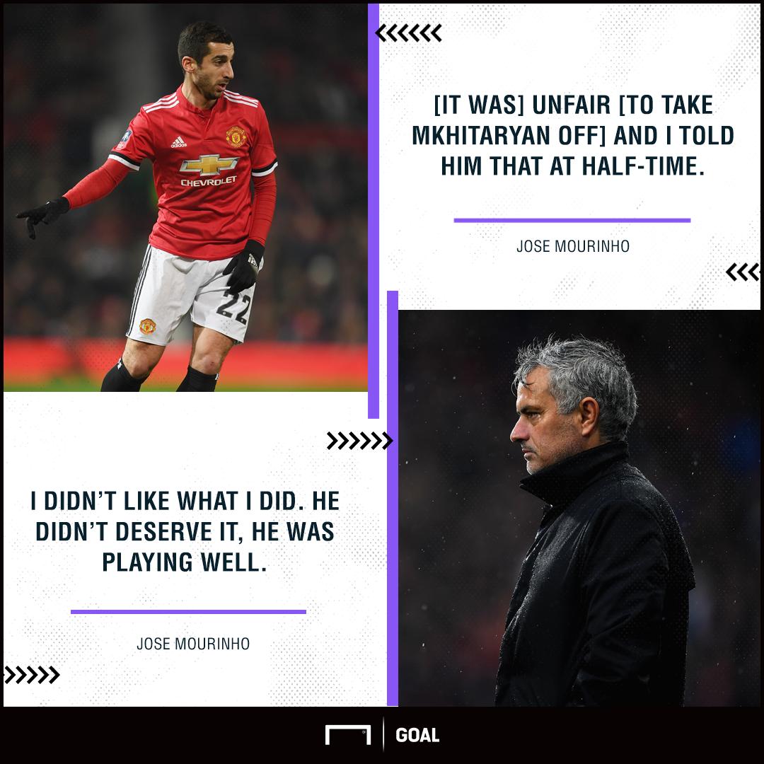 Jose Mourinho Henrikh Mkhitaryan sub unfair