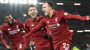 Georginio Wijnaldum Roberto Firmino Xherdan Shaqiri Liverpool 2018