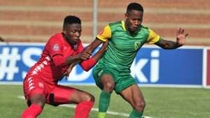 Sello Motsepe Highlands Park challenged by Sibusiso Sibeko of Golden Arrows