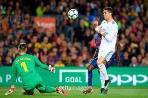 바르셀로나 골키퍼 테어 슈테겐(좌)과 전 레알 마드리드 공격수 호날두(우, 현 유벤투스). 사진=게티이미지