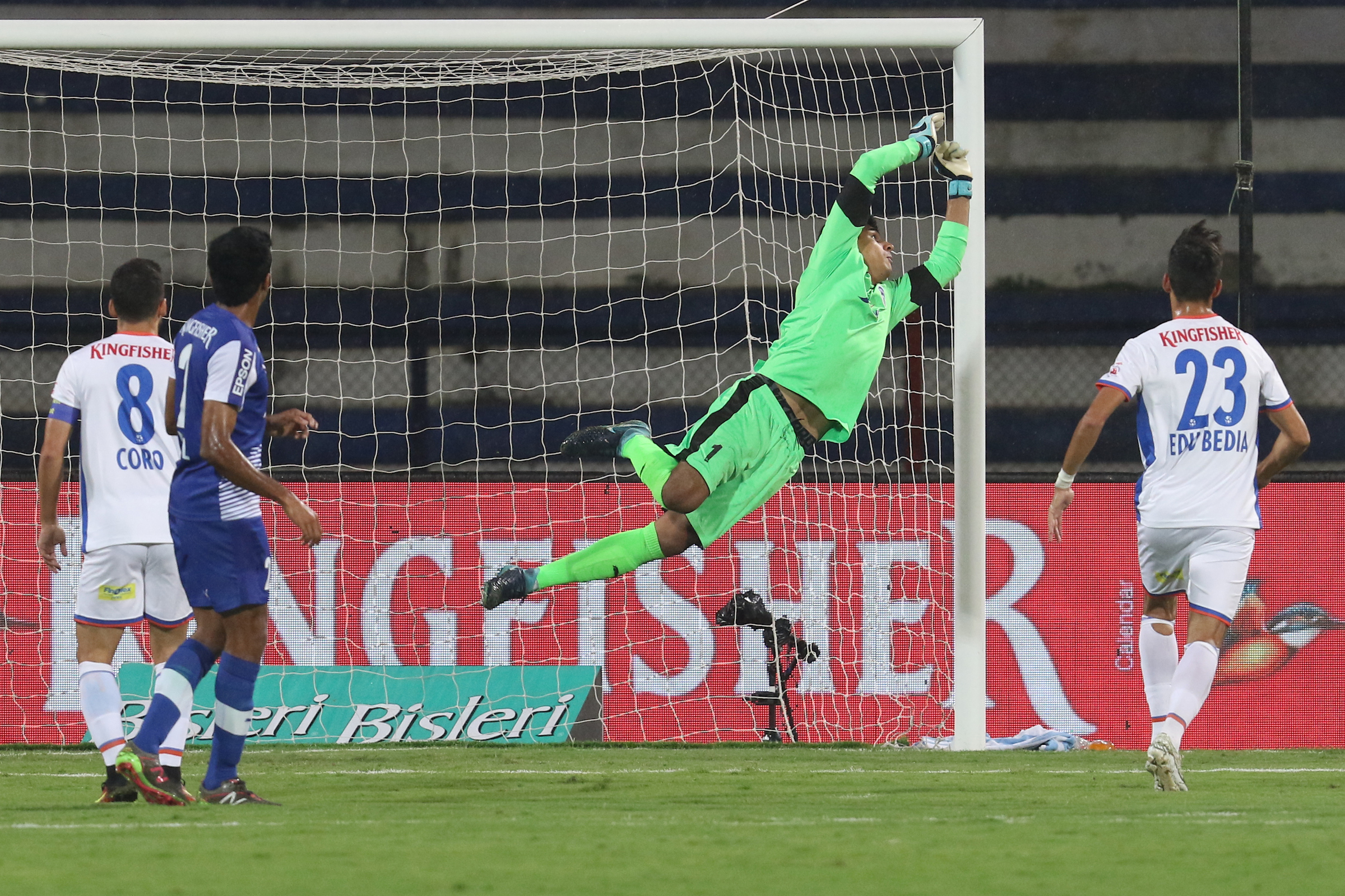 Gurpreet Singh Sandhu of Bengaluru FC saves in an ISL match against FC Goa
