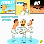 Cartoon Cristiano Ronaldo Karim Benzema Real Madrid penalty