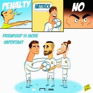 Cartoon Cristiano Ronaldo Karim Benzema Real Madrid penalty