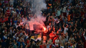 Russia flares during Slovakia match