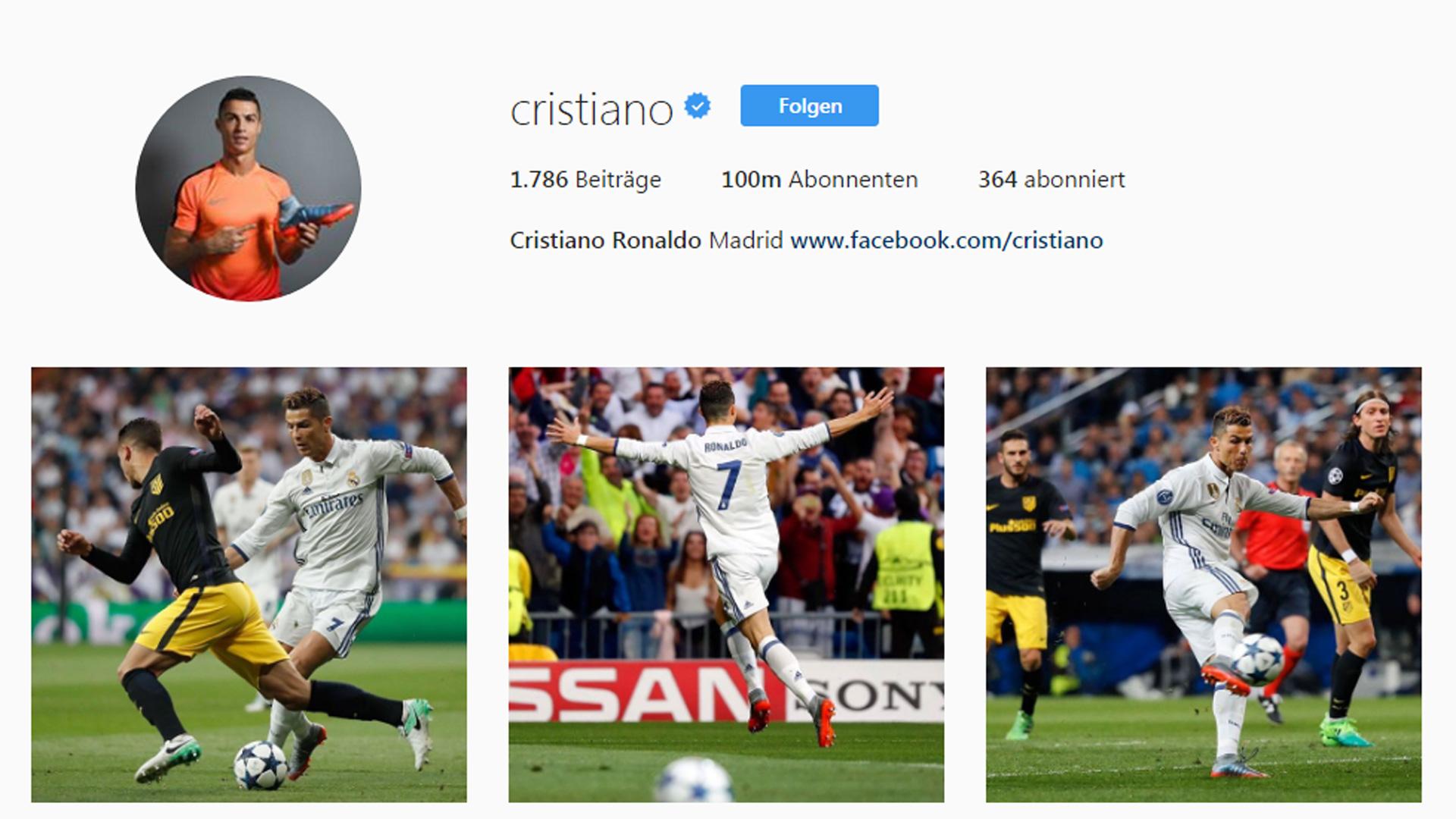 Cristiano Ronaldo Instagram Screenshot