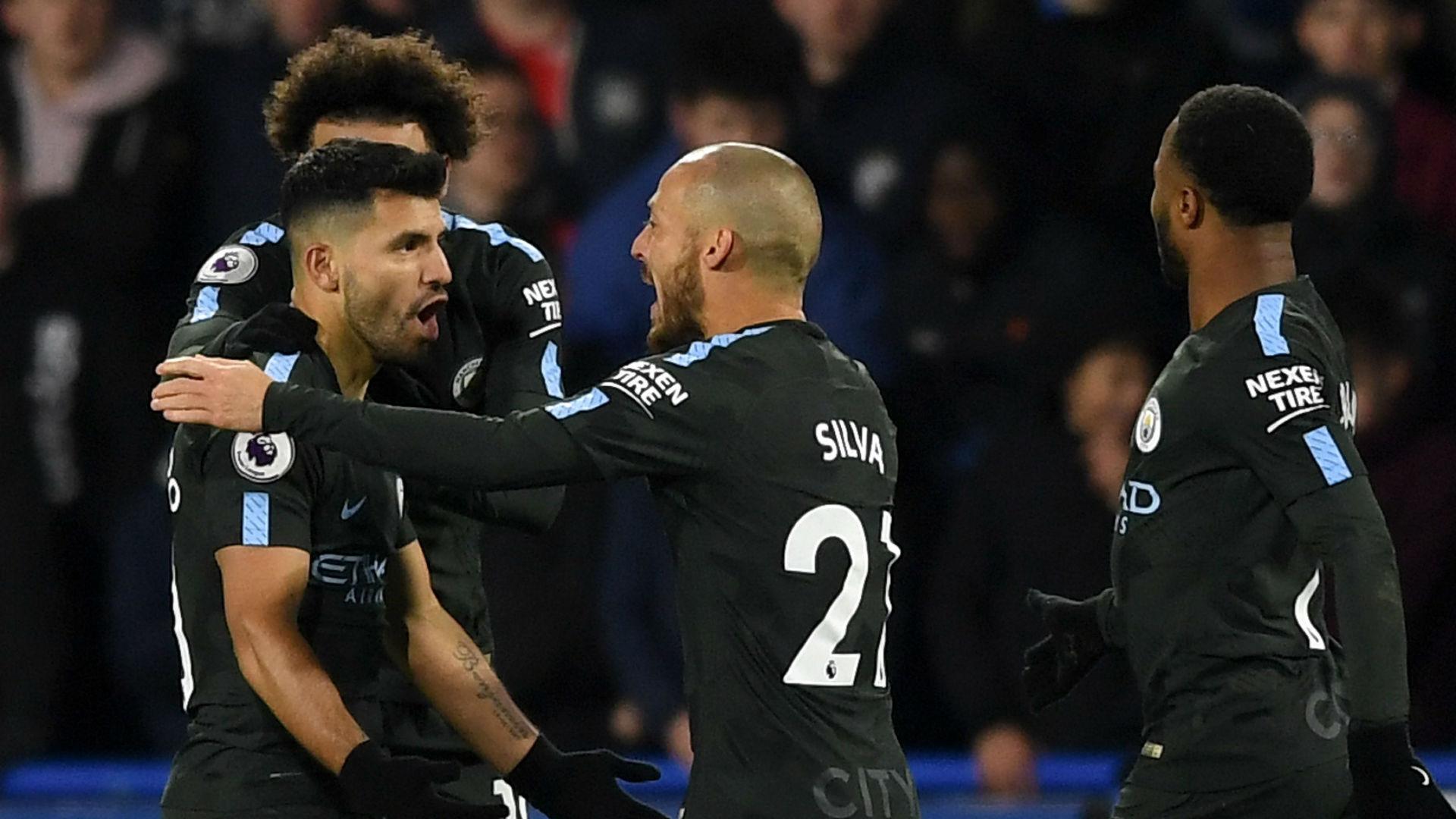 Manchester City celebrate v Huddersfield