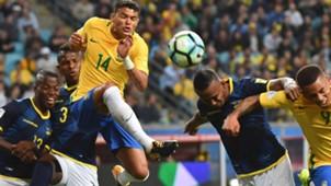 Thiago Silva Pedro Velasco Brazil Ecuador Eliminatorias 2018 31082017