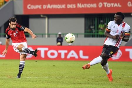 Egypt's Abdallah Said and Khalid Aucho of Uganda Afcon 2017