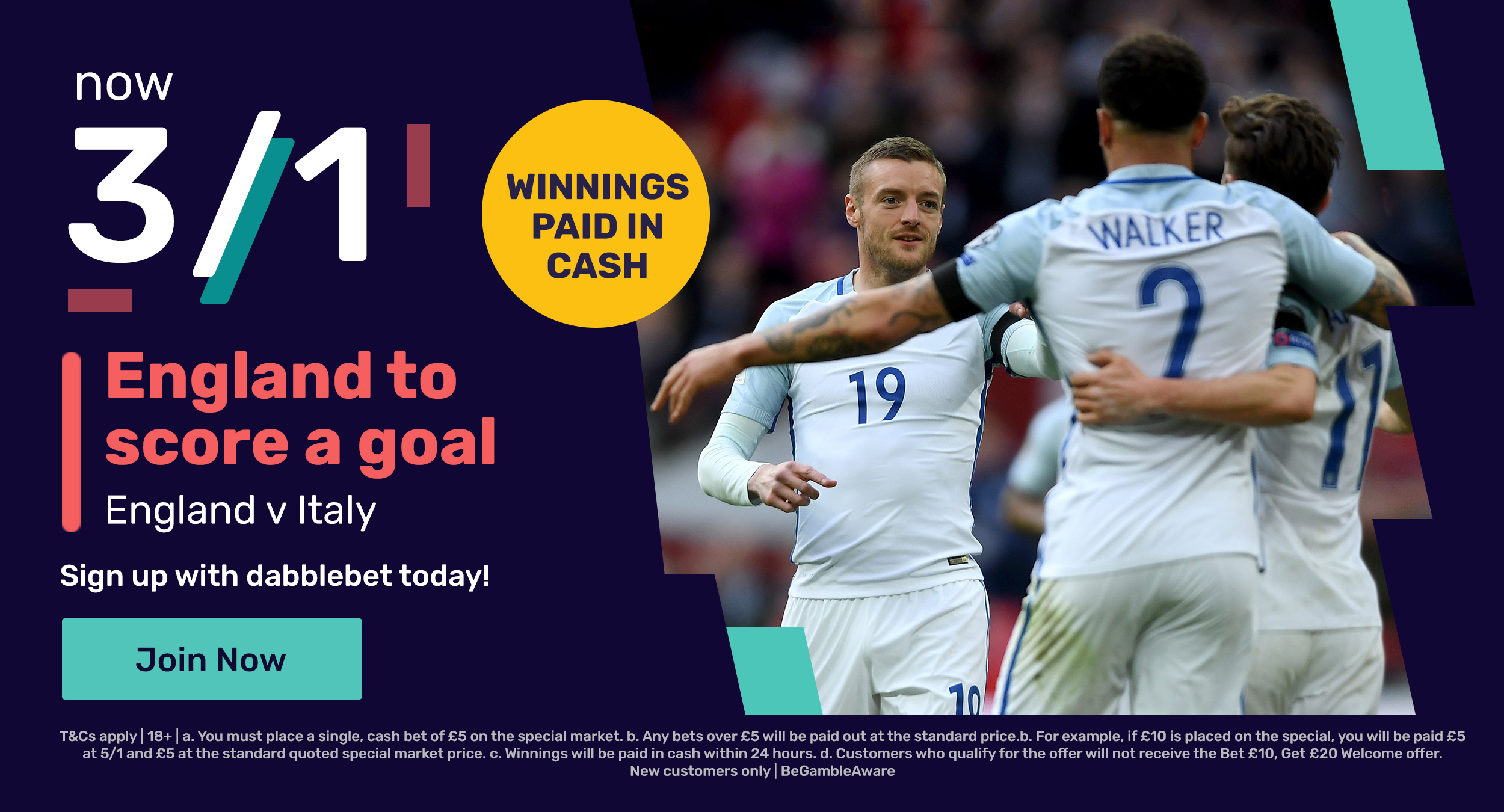 England Italy dabblebet new customer offer graphic