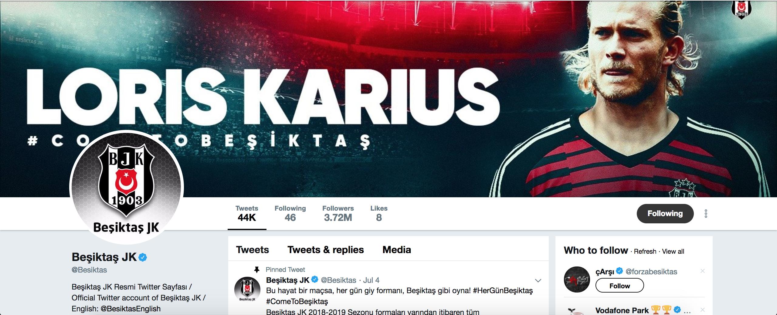 Karius to Besiktas Twitter