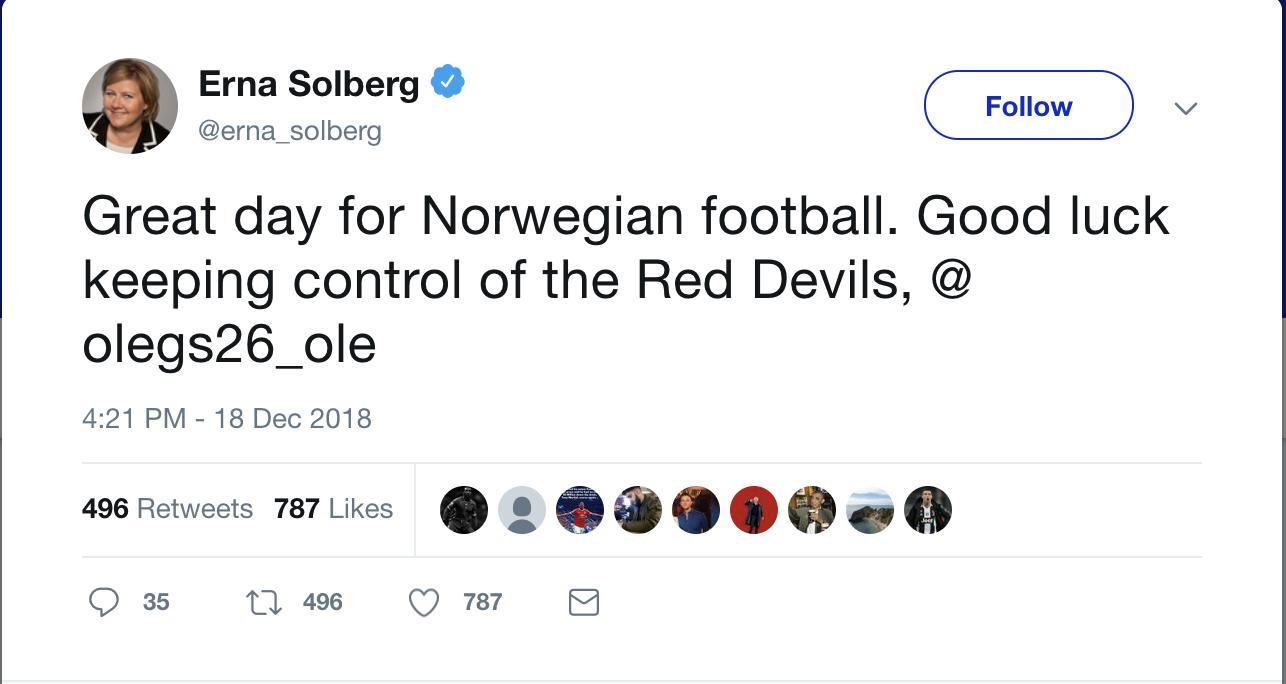 Solberg tweet Solskjaer 2