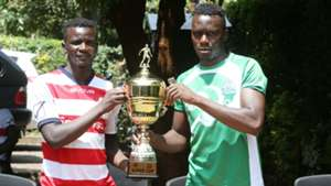 Haroun Shakava of Gor Mahia and AFC Leopards Duncan Otieno.