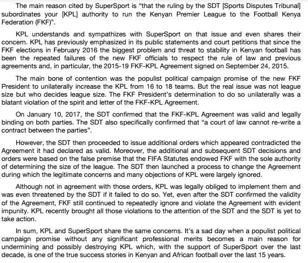 KPL response to SuperSport termination