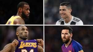 LeBron James, Kobe Bryant, Lionel Messi, Cristiano Ronaldo