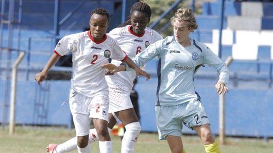 Mwanahalima Adam and Christine Nafula of Harambee Starlets