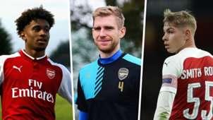 Reiss Nelson, Per Mertesacker, Emile Smith Rowe, Arsenal