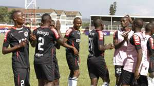 Ulinzi Stars players celebrate Mathare United win