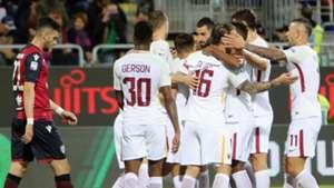Roma player celebrating Cagliari Roma Serie A