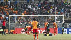 Mamelodi Sundowns players celebrate Anthony Laffor's goal