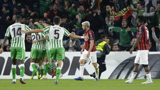Betis celebrating Betis Sevilla Milan Europa League