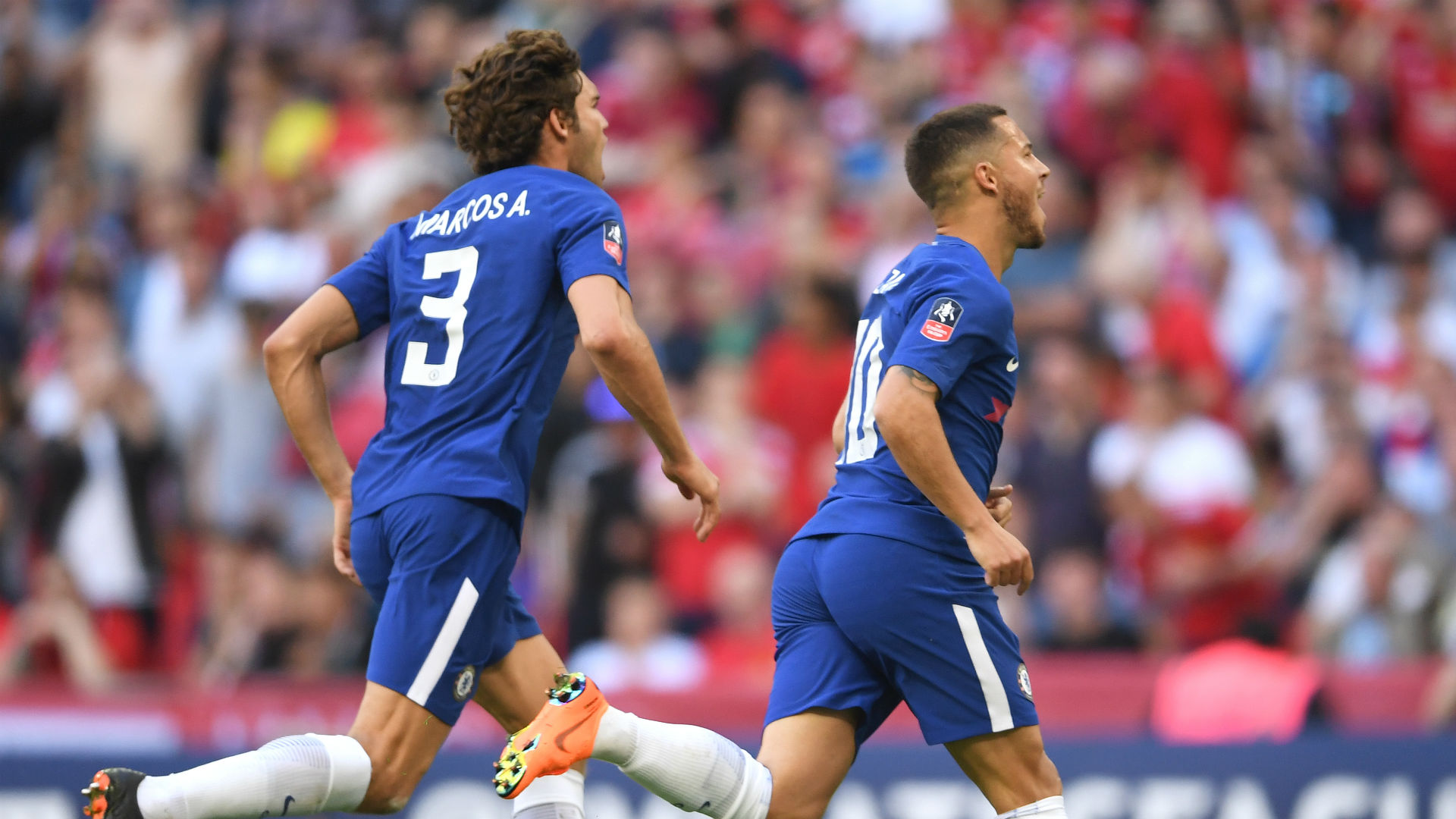 Marcos Alonso Eden Hazard Chelsea Manchester United FA Cup