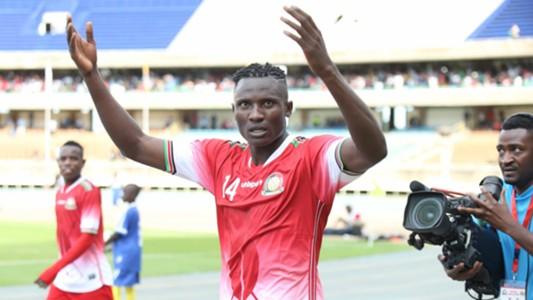 Michael Olunga of Kenya v Ghana.