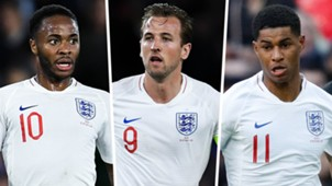 Raheem Sterling Harry Kane Marcus Rashford England composite