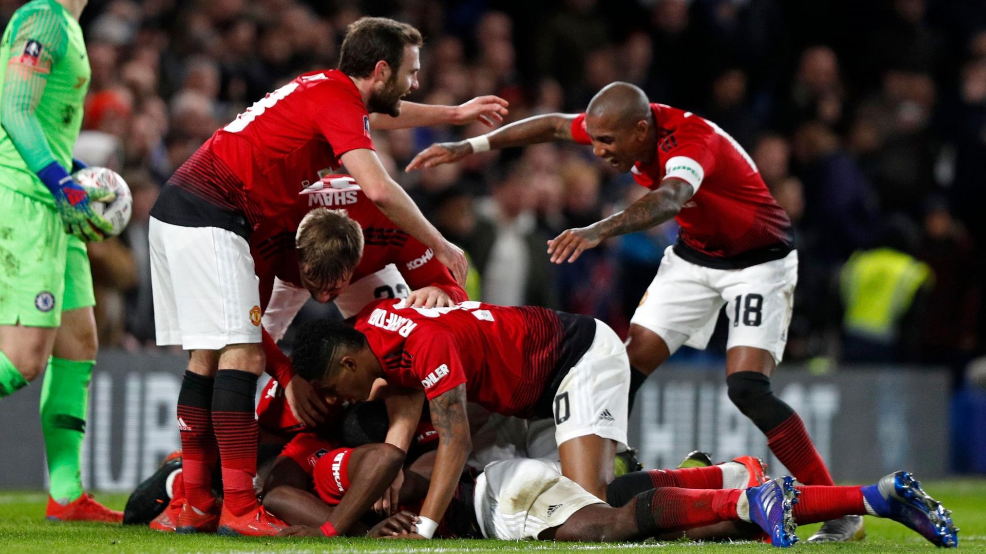 Manchester United celebrate vs Chelsea, FA Cup