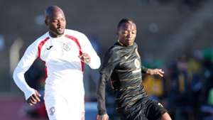 Rooi Mahamutsa of Free State Stars challenged by Khama Billiat of Kaizer Chiefs