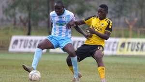 SAAD MUSA of Thika United and HASHIM SEMPALA of Tusker.