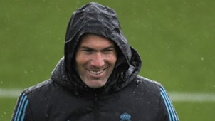 Zinedine Zidane Real Madrid Champions League training session