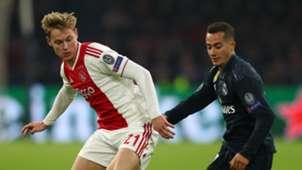 Frenkie de Jong, Lucas Vazquez, Ajax vs Real Madrid