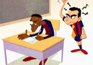"""""""Barcelone est comme un examen final pour un footballeur"""", quand le professeur Xavi donne la leçon à Ousmane Dembélé."""