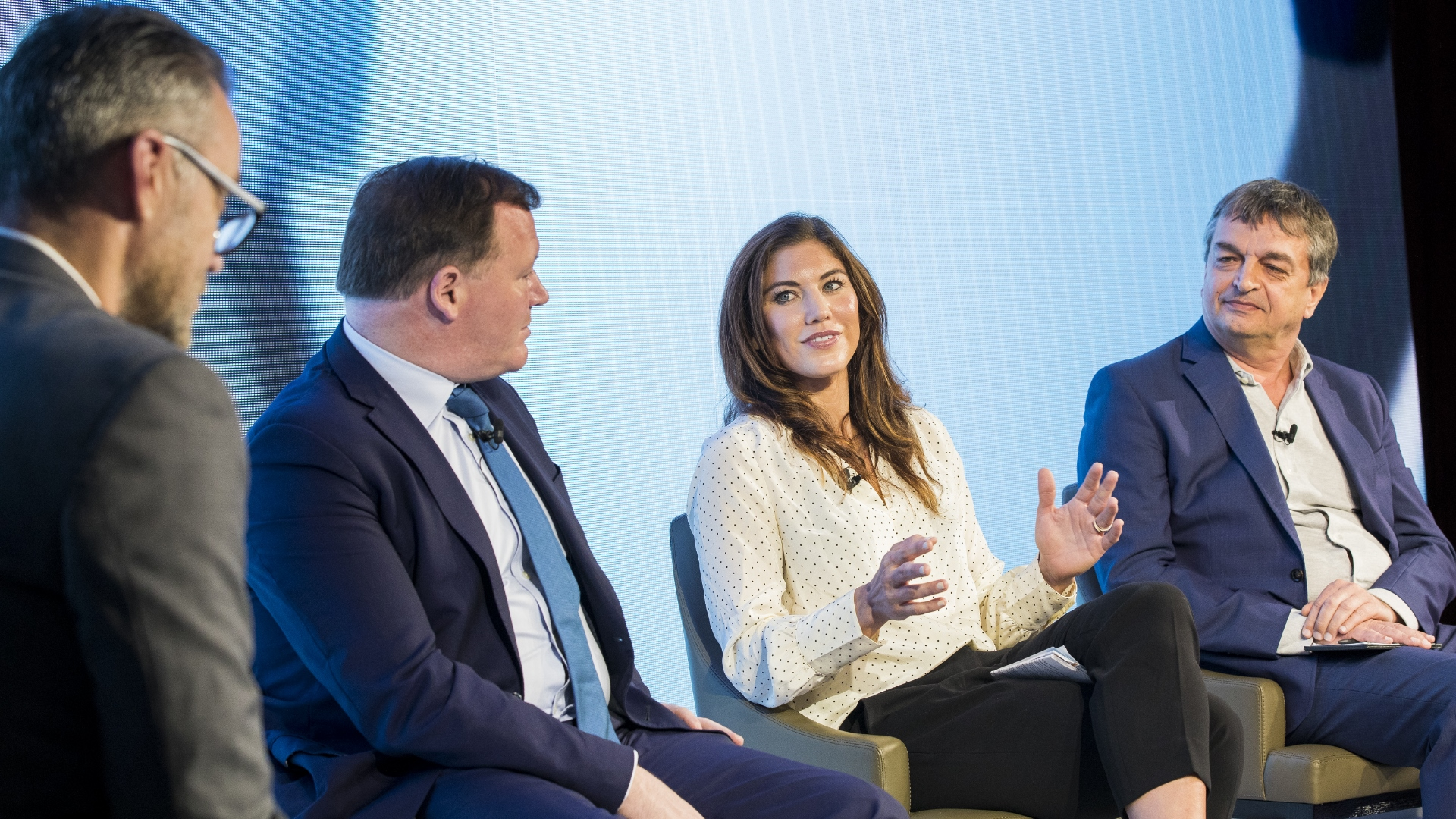 Simon Hill, Damian Collins, Hope Solo and Jerome Champagne