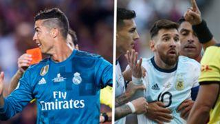 Cristiano Ronaldo Lionel Messi red card sent off