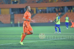 Felda United's Norshahrul Idlan Talaha celebrates his goal against PKNS 21/1/2017