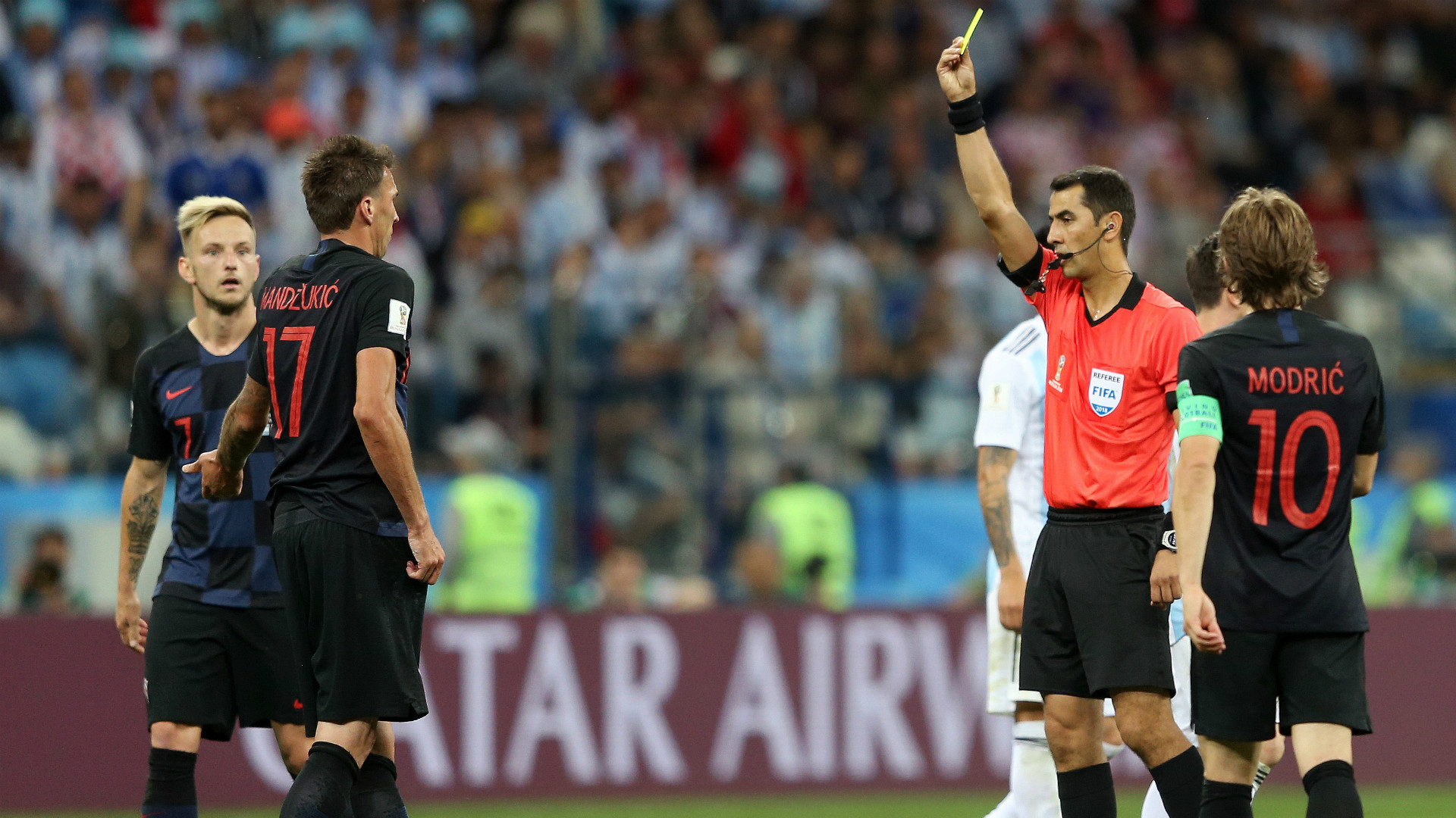 Mario Mandzukic Yellow Card World Cup Croatia Argentina