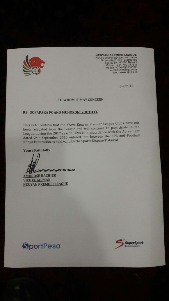 KPL letter on Muhoroni Youth and Sofapaka