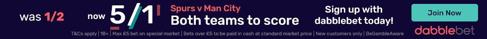 Spurs Man City BTTS graphic dabblebet