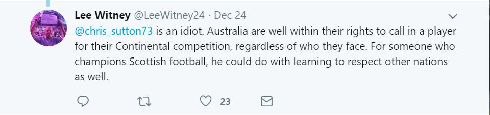 Chris Sutton comment Australia Asian Cup