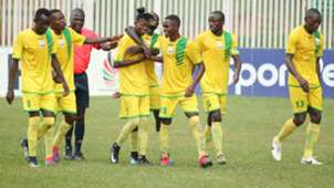 Kakamega Homeboyz celebrate against AFC Leopards.
