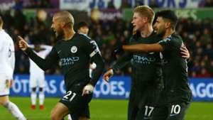 David Silva Kevin De Bruyne Sergio Aguero Manchester City Premier League