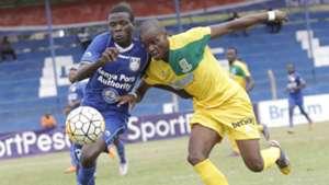 Duncan Otewa of Bandari against Daniel Mwaura of Mathare United